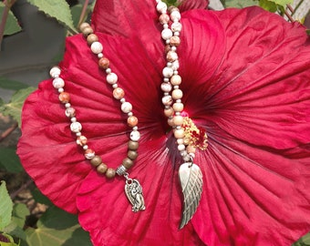 Healing Angel Mala Necklace | Mother of Pearl Angel Wing | Crazy Lace Agate | Sandalwood | Luxury Mala Beads | Quiet Confidence | Serenity