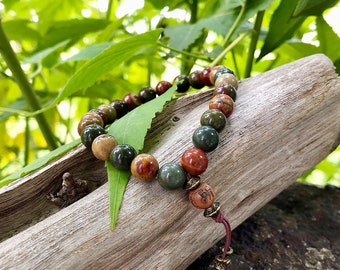 Men's Worthy Mala Bracelet | Luxury Picasso Jasper | Reiki Infused Healing Mala Beads | Celebration | Confidence | Esteem | Friendship