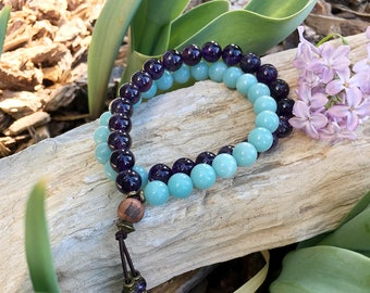 Happy Healthy Double Mala Bracelet | AAA Purple Amethyst | AAA Blue Amazonite | Gorgeous Mala Beads | Health | Abundance | Clarity | Balance