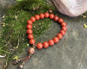 Stress Relief (Sukha) Mala Bracelet | AAA Grade Natural Red Jasper Gemstones | Boho Mala Beads | Eases Worry & Fear | Take Your Power Back