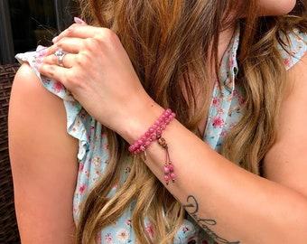 Mending Heart Double Wrap Mala Bracelet   Luxury Rhodochrosite Gemstones   Reiki Infused Mala Beads   Eases Depression   Heals the Heart