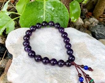 Sweet Rainwater Mala Bracelet | Luxury Gemstone Mala Beads | Purple Amethyst | Long Red Garnet and Blue Lapis Tassel | Cleansing | Clarity