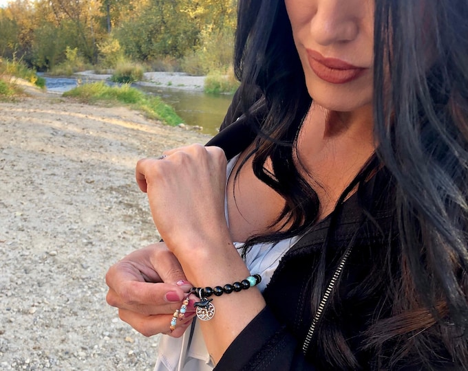 Featured listing image: Raven Mala Bracelet | Exotic Obsidian Mala Beads | AAA Amazonite | Tree of Life Charm | Raven Charm | Reiki Infused | Strength | Protection