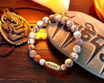 Women's Zen as F#ck Happy Bracelet | Crazy Lace Agate | Gemstone Mala Bracelet | Reiki Infused Mala Beads| Confidence | Inner Calm | Joy