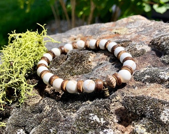 Men's Stress Relief Mala Bracelet | White Magnesite | Powerful Relaxing Vibrations | Mala Beads | Wrist Mala | Reiki Infused | Calming