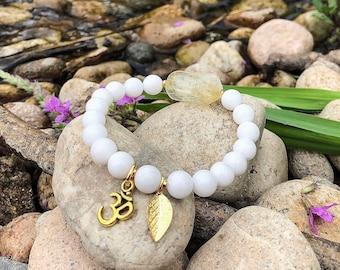 Uplifting Mala Bracelet | White Onyx | Citrine | Natural Luxury Gemstones | Om | Releasing the Past | Self Esteem | Confidence | Prosperity