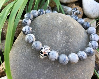 Mens Positive Energy Sugar Skull Bracelet | Wrist Mala | Healing Mala Beads | Grey Crazy Lace Agate | Reiki Infused Gemstones | Positivity