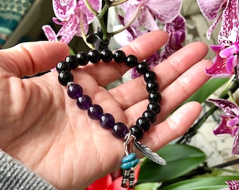 Women's Recovery Mala Bracelet | AAA Gemstone Beads | Amethyst | Onyx | Blue Apatite | Protection | Strength | Eases Emotional Exhaustion