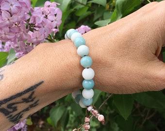 Sea of Calm Mala Bracelet | Luxury Mala Beads | Reiki Healing | Amazonite | Rose Quartz | Picture Jasper | Peace | Comfort | Clarity