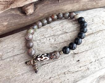 Men's Strength Mala Bracelet | High Grade Natural Gemstones | Wrist Mala | Mala Beads | Reiki Healing | Agate | Onyx | Balances all Chakras