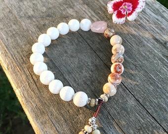 Moksha Love Bracelet   Coral   Crazy Lace Agate   Rose Quartz   Wrist Mala   Unique Mala Bracelet   Yoga   Reiki Healing   Peace   Self Love