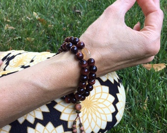 Nirvana Double Bracelet | AAA Luxury Grade Mala Beads | Red Tigers Eye | Citrine | Passion for Life | Speeds Metabolism | Increases Energy