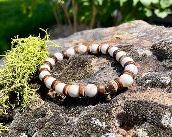 Men's Stress Relief Mala Bracelet | White Magnesite | Powerful Relaxing Vibrations | Mala Beads | Wrist Mala | Reiki Infused | Calming