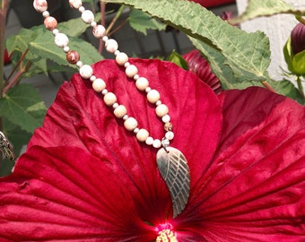 Healing Angel Mala Necklace | Mother of Pearl Angel Wing | Crazy Lace Agate | Reiki Infused Mala Beads | Heals Pain | Quiet Confidence | Joy