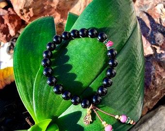 Hand of God Mala Bracelet | Genuine Red Ruby | Black Onyx | Vintage Emerald Green Swarovski Crystals | CZ Hamsa | Clears Trauma | Protection