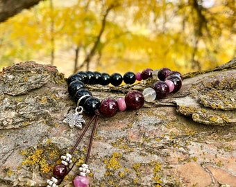 High Frequency Mala Bracelet | Genuine Ruby | Garnet | Tourmaline | Labradorite | Luxury Gemstones | Lotus | Self Care | Raises Vibration