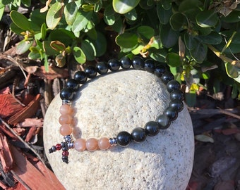 Men's Optimism Mala Bracelet | Rainbow Obsidian Crystals | Peach Sunstone Gemstones | Reiki Infused Mala Beads | Antidepressant | Energy