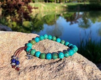 Inner Peace Mala Bracelet   Healing Mala Beads   Natural Turquoise   Lapis Lazuli Tassel   Om Charm   Eases the Mind   Improves Mood