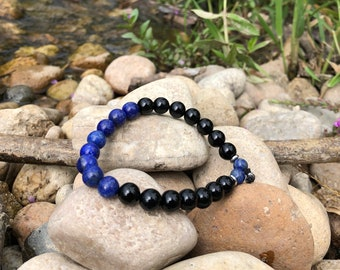 Men's Peace and Protection Mala Bracelet | Natural Gemstone Beads | Blue Lapis Lazuli | Black Onyx | Eases Depression & Fear | Adds Strength