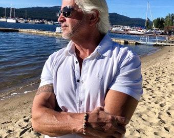 NEW! Men's Beach Getaway Bracelet | AAA Sunstone | AAA Ivory Fossil Jasper | Dzi Agate | Coconut Shell | Luxury Mala Beads | Soul Soothing