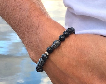 Men's Confidence Bracelet | Wrist Mala | Healing Mala Beads | Snowflake Obsidian | Black Onyx | Strength | Protection | Emotional Stability