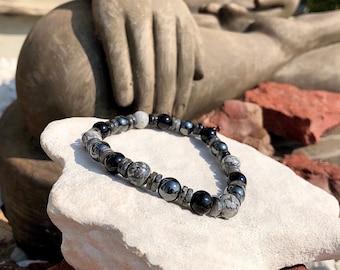 NEW! Mens Synergy Mala Bracelet | Black Onyx | Larvikite | Hematite | Grey Crazy Lace Agate | Healing | Equilibrium | Strength | Pain Relief