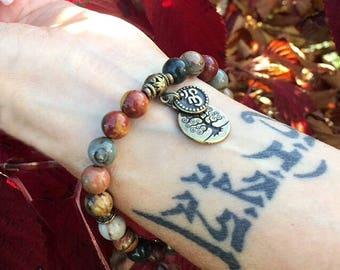 Om Worthy Mala Bracelet | Yoga Beads | Healing Stones | Picasso Jasper | Tree of Life | Enhances Body Image | New Friendships | Grounding
