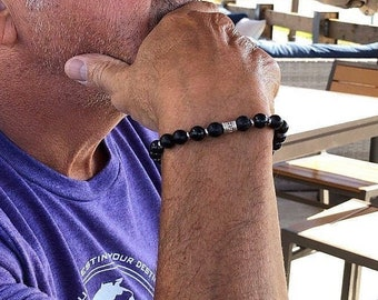 Resilience Mala Bracelet | Black Onyx Gemstone Mala Beads | Mani Mantra | Meditation | Protection | Confidence | Endurance | Strength