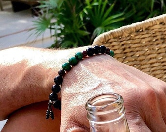 Men's Paradise Mala Bracelet | Black Onyx | Natural Malachite | Red Garnet | AAA Gemstone Beads | Transformation | Physical Energy | Bliss