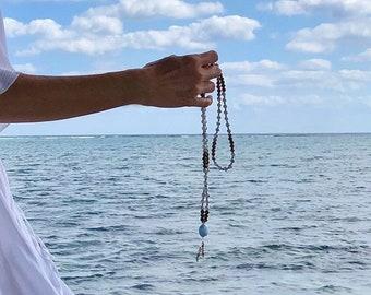 Peaceful Bliss Mala Bead Necklace | Aquamarine | White Howlite | Brazilian Crazy Lace Agate | Luxury Reiki Infused Gems | Serenity | Joy