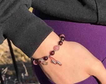 Love & Grace Mala Bracelet | Luxury Rainbow Tourmaline | Brazilian Red Garnet | Sterling Silver Lotus | Clears Energy Field | Self Love