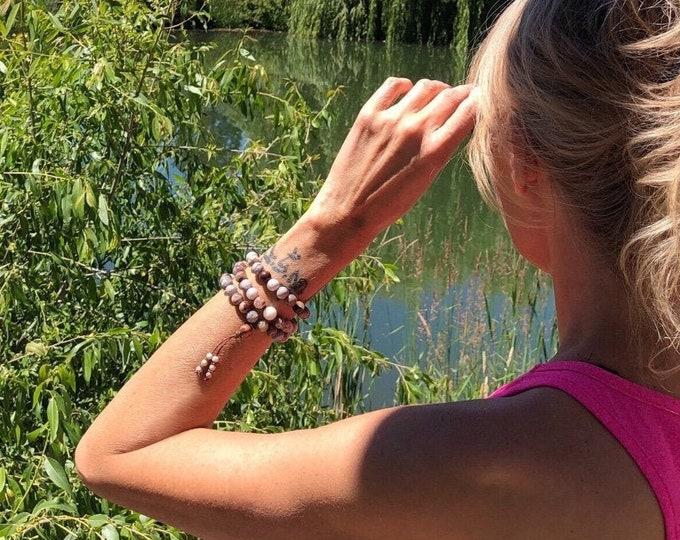 Featured listing image: Warm Glow Triple Wrap Mala Bracelet | Laguna Lace Agate | Moonstone | Luxury Mala Beads | Heart Healing | Chakra Balance | Self Acceptance
