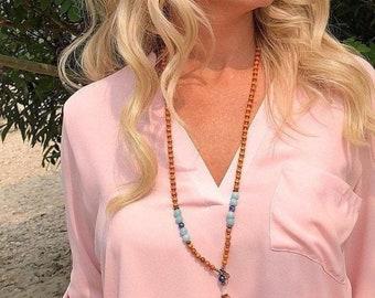 Sacral Truth Mala Bead Necklace | Orange Sandalwood | Amazonite | Lapis Lazuli | Om | Eases Internal Conflict | Charisma | Creativity | Luck