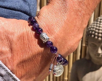 Men's Ancient Eyes Mala Bracelet | AAA Luxury Amethyst Gemstones | Reiki Infused Mala Beads | Protection | Clarity | Focus | Anxiety Relief
