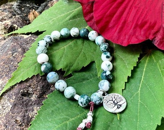 Healing Tree of Life Mala Bracelet | Beautiful Tree Agate Gemstones | Reiki Infused Mala Beads | Balance | Concentration | Self Acceptance