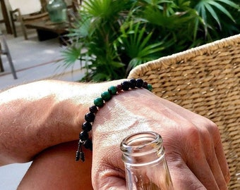 Men's Pure Paradise Mala Bracelet | Black Onyx | Natural Malachite | Red Garnet | AAA Mala Beads | Transformation | Physical Energy