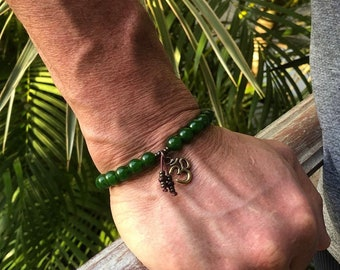 Men's Spiritual Wealth Mala Bracelet | Jade Gemstones | Driftwood Buddha | Om | Reiki Infused Mala Beads | Success | Prosperity | Abundance