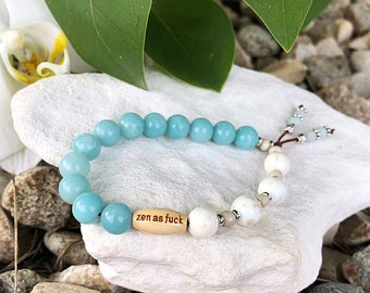 Dharma Zen as F*ck Mala Bracelet | Luxury Amazonite | Creamy White Magnesite | Healing Gemstones | Reiki Infused | Serenity | Self Love