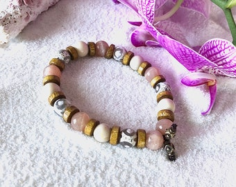 Beach Getaway Mala Bracelet | Luxury Gemstone Mala Beads | Sunstone | Fossil Jasper | Dzi Agate | Coconut Wood | Refreshing | Optimism | Joy