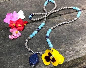 Spiritual Wisdom Mala Necklace | Lapis Lazuli | Amazonite | Gray Wood | Reiki Infused | Luxury Mala Beads | Insight | Clarity | Reduces Fear