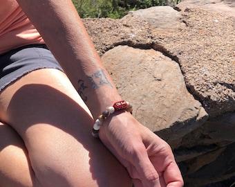 Old Soul Mala Bracelet | AAA Laguna Lace Agate | AAA Moonstone | Engraved Red Carnelian | Balances Chakras | Trust | Psychic Intuition