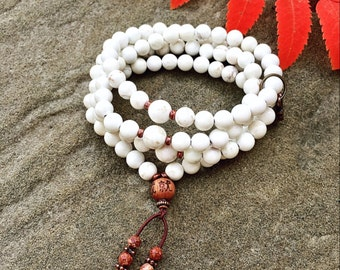 Tranquility 108 Bead Mala | Necklace or Wrap Bracelet | Magnesite | Yoga | Calming | Relaxing | Alleviates Sadness Stress Fear Depression