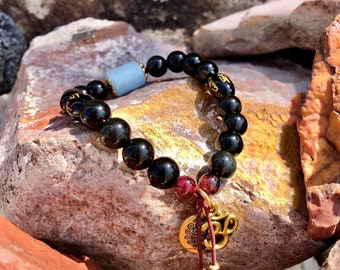 NEW! Universal Guidance Mala Bracelet | Exotic Obsidian Crystals | Brazilian Red Garnet | Aquamarine | Om | Direction | Purpose | Protection