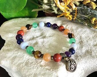 Chakra Om Mala Bracelet   Beautiful Luxury Gemstones to Heal Each Chakra   Reiki Infused Mala Beads   Balance   Stability   Centering