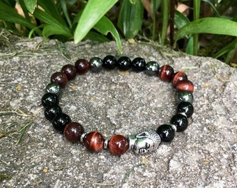 Mens Victory Mala Bracelet | Black Obsidian | Red Tigers Eye | Hematite | Luxury Gemstone Mala Beads | Blocks Negativity | Confidence | Love