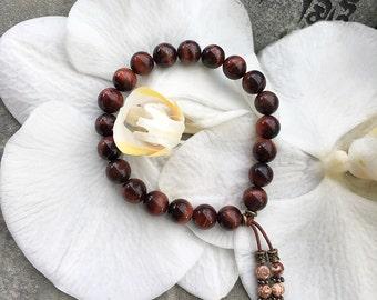 Growth & Expansion Mala Bracelet | Luxury Tigers Eye Gemstones | Reiki Infused Mala Beads | Vitality | Drive | Passion | Confidence