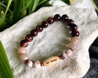 So Loved Mala Bracelet | Luxury Gemstones | AAA Red Tigers Eye | Peach Moonstone | Crazy Lace Agate | Healing Mala Beads | Love | Happiness