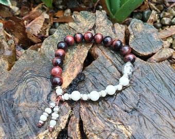 Nirvana Mala Bracelet | Red Tigers Eye | Magnesite | Mala Beads | Unique Yoga Jewelry | Wrist Mala | Motivation | Reduces Sadness and Fear
