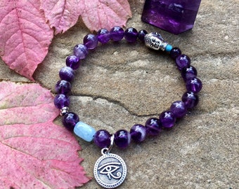 Clarity Mala Bracelet | Purple Amethyst | Aquamarine | Luxury Gemstone Mala Beads | Eye of Horus | Buddha | Focus | Intuition | Clear Mind
