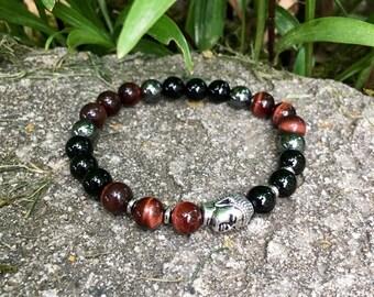 Mens Victory Mala Bracelet | Obsidian | Red Tigers Eye | Hematite | Luxury High Grade Gemstone Beads | Blocks Negativity | Builds Confidence